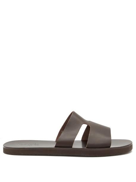 Ancient Greek Sandals - Apteros Leather Slides - Mens - Black Brown