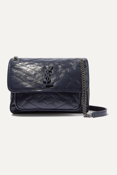 SAINT LAURENT - Niki Medium Quilted Crinkled Glossed-leather Shoulder Bag - Navy