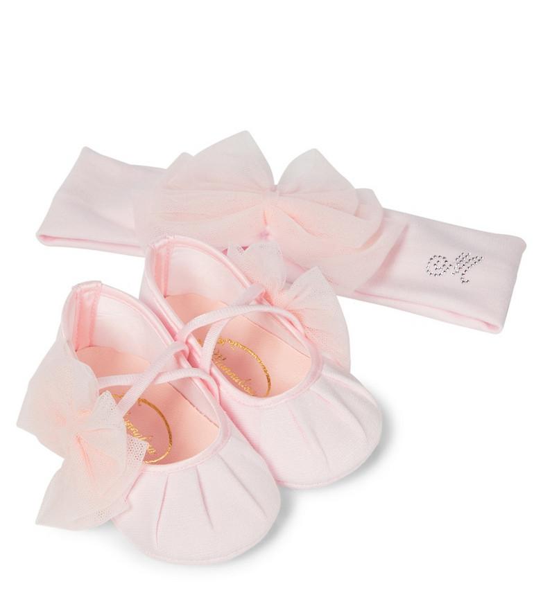 Monnalisa Baby headband and shoes set in pink