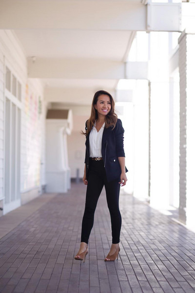 stylish petite blogger top jacket jeans shoes belt