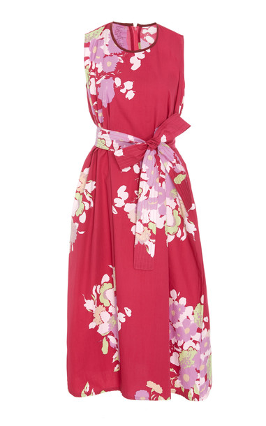 Yvonne S Floral-Print Belted Cotton Midi Dress Size: L