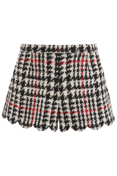 RED Valentino Maxi Houndstooth Shorts in nero / white