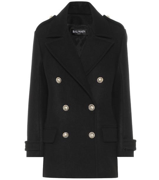Balmain Wool coat in black
