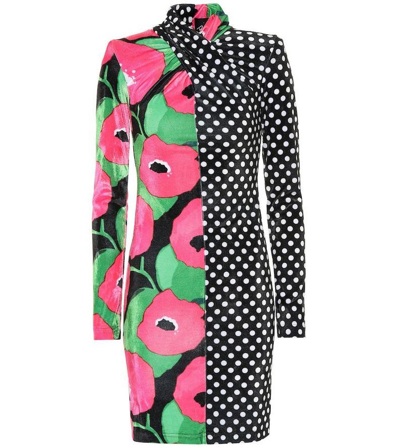 Richard Quinn Polka-dot and floral velvet minidress