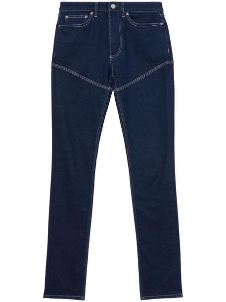 Burberry contrast-stitch skinny jeans - Blue