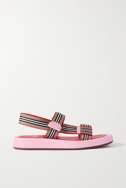 BURBERRY - Leather-trimmed Striped Canvas Sandals - Pink