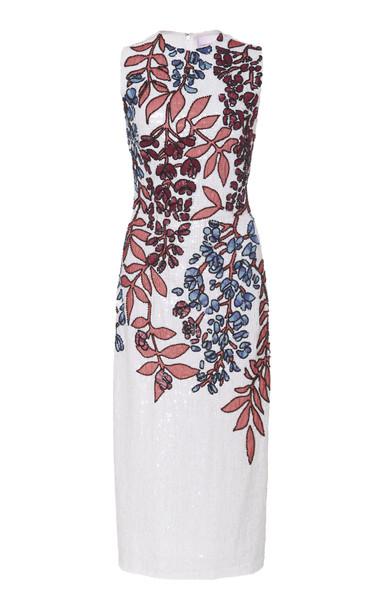 Carolina Herrera Sequined Silk Midi Dress in white