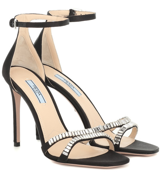 Prada Embellished satin sandals in black