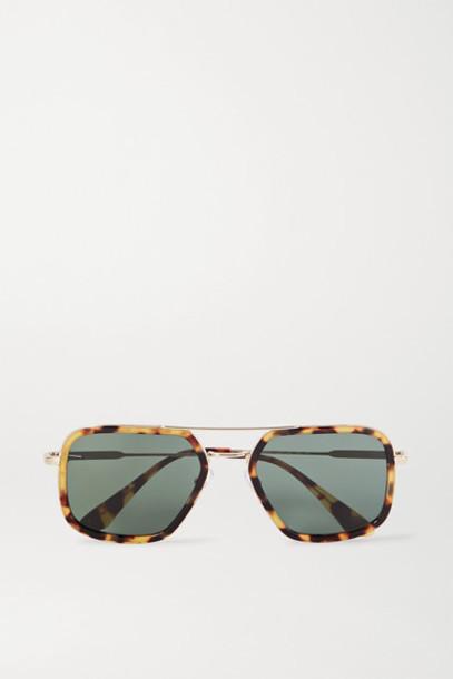 Prada - Aviator-style Gold-tone And Tortoiseshell Acetate Sunglasses