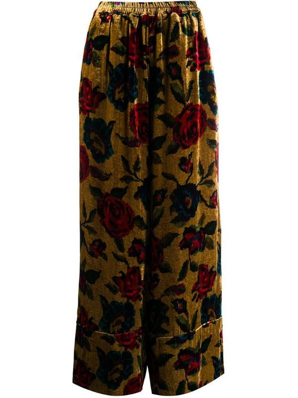 Pierre-Louis Mascia floral velvet print trousers in brown