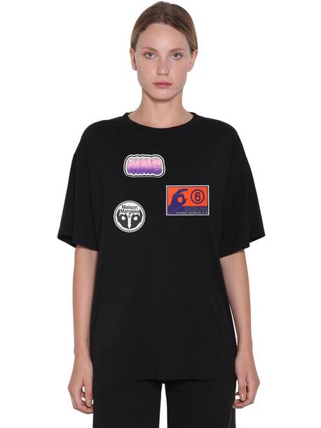 MM6 MAISON MARGIELA Cotton Jersey T-shirt W/stickers in black