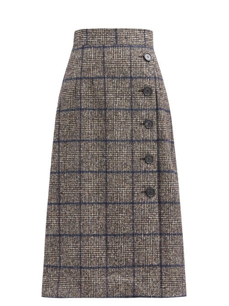 Dolce & Gabbana - Prince Of Wales-check High-rise Side-button Skirt - Womens - Blue Multi