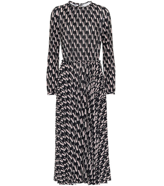 Valentino Printed stretch-crêpe midi dress in black