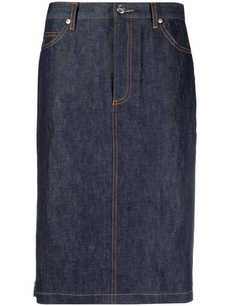 A.P.C. A.P.C. contrast pleat-detail denim skirt - Blue