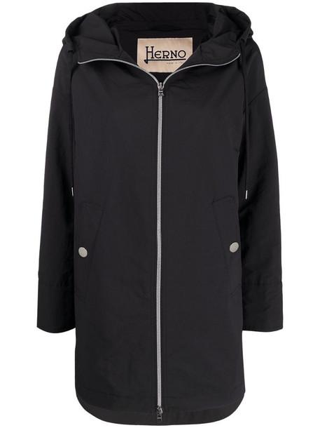 Herno hooded drawstring-waist coat in black