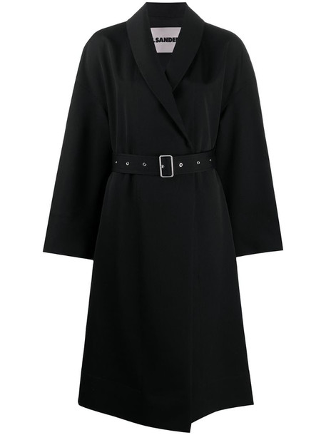 Jil Sander flared belted trench coat in black