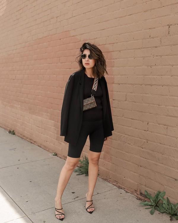 pants black leggings black sandals black blazer black blouse louis vuitton bag