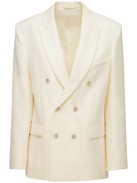 WARDROBE.NYC Double Breasted Wool Blazer in white