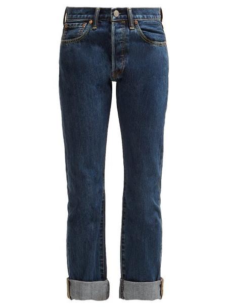 Burberry - Tartan Straight Leg Jeans - Womens - Blue Multi
