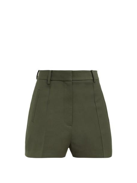 Khaite - Casey Cotton Twill Shorts - Womens - Dark Green
