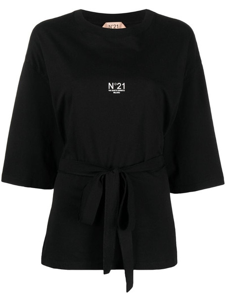 Nº21 logo print tie-waist T-shirt in black