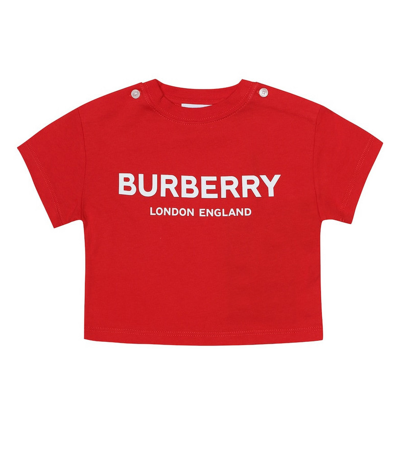 Burberry Kids Baby logo cotton-jersey T-shirt in red