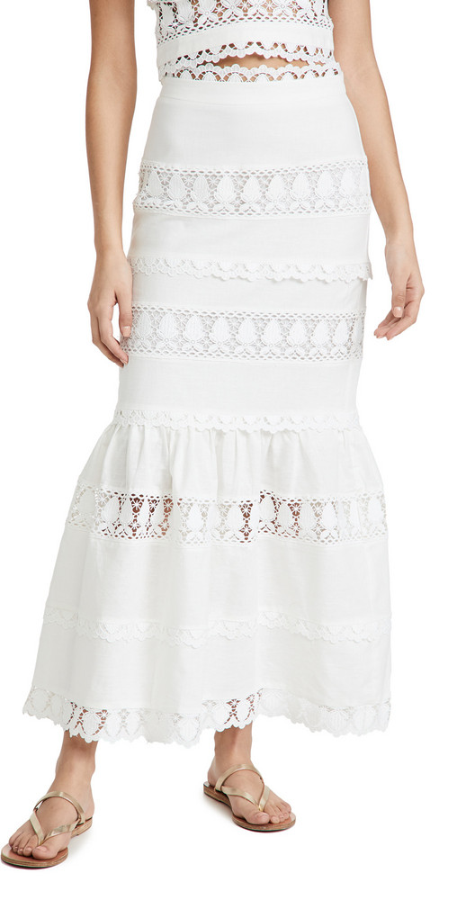endless rose Lace Trim Maxi Skirt in white