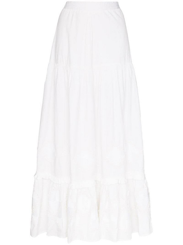 Chufy tiered cotton maxi skirt in white