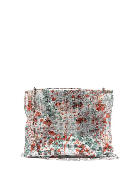 Paco Rabanne - Floral Print Chainmail Shoulder Bag - Womens - Silver Multi