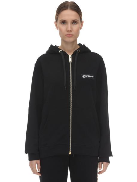 BURBERRY Zip-up Jersey Sweatshirt W/ Check Detail in black