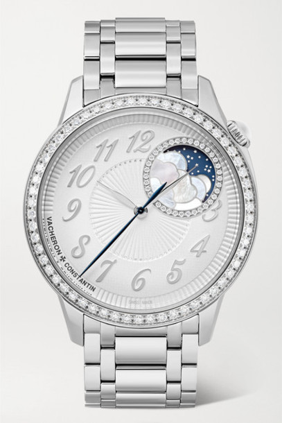 Vacheron Constantin - Egérie Automatic Moon-phase 37mm Stainless Steel And Diamond Watch - Silver