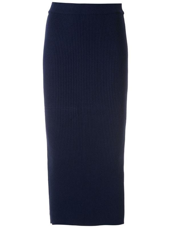 Martha Medeiros knitted midi skirt in blue
