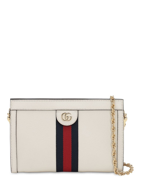 GUCCI Ophidia Leather Shoulder Bag in white
