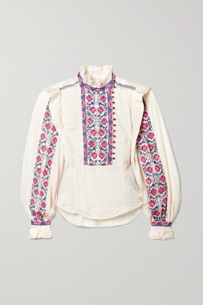 Isabel Marant - Chandrali Embellished Silk-voile Blouse - Ecru