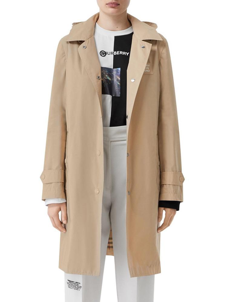 BURBERRY Mylon Long Hooded Rain Coat in beige