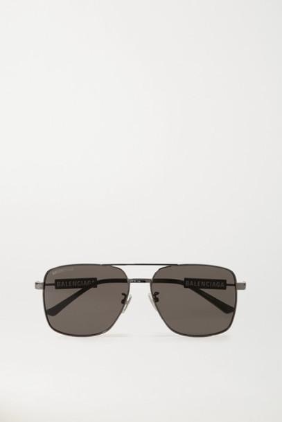 Balenciaga - Aviator-style Gunmetal-tone And Rubber Sunglasses - Gray