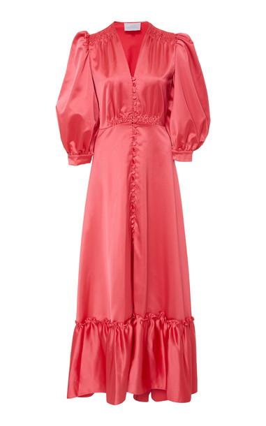 Luisa Beccaria Ruffled Satin Maxi Dress Size: 44