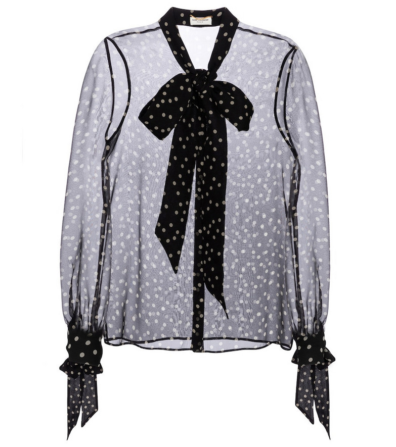 Saint Laurent Polka-dot silk blouse in black