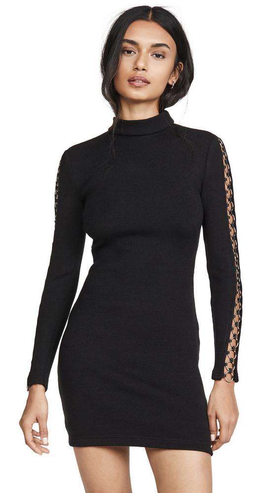 Jonathan Simkhai Directional Rib Long Sleeve Mini Dress in black