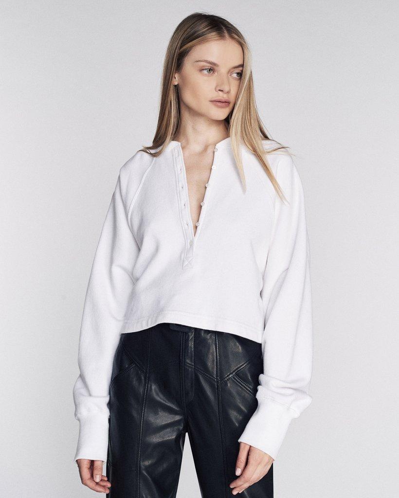 So Uptight Plunge Henley Sweatshirt in White