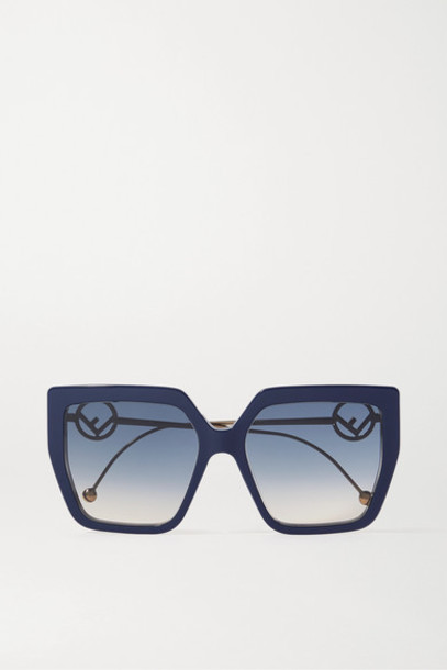 Fendi - Oversized Square-frame Acetate And Gold-tone Sunglasses - Navy