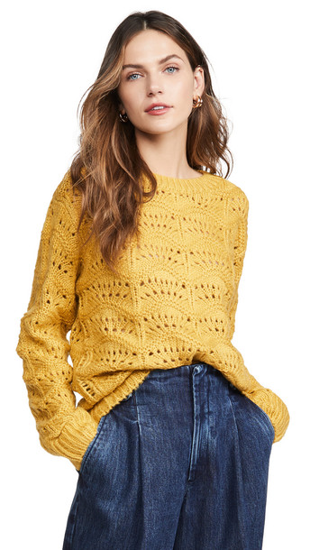 Moon River Wave Patterned Sweater in mustard