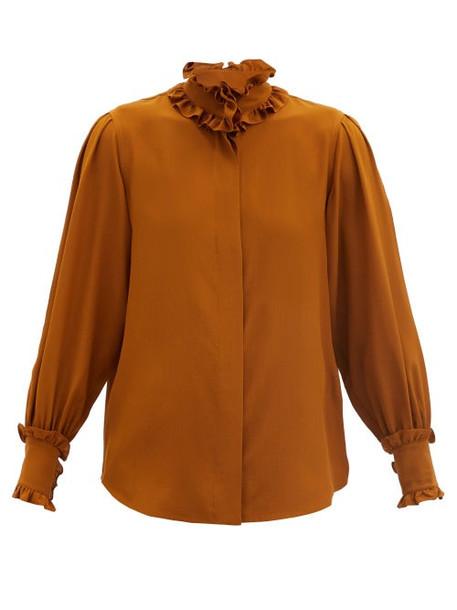 Victoria Beckham - Ruffled Silk Blouse - Womens - Brown