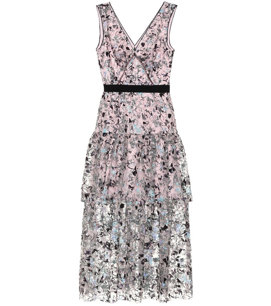 Self-Portrait Constellation sequined midi dress in pink