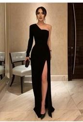 dress,black dress,formal dress,one shoulder dress
