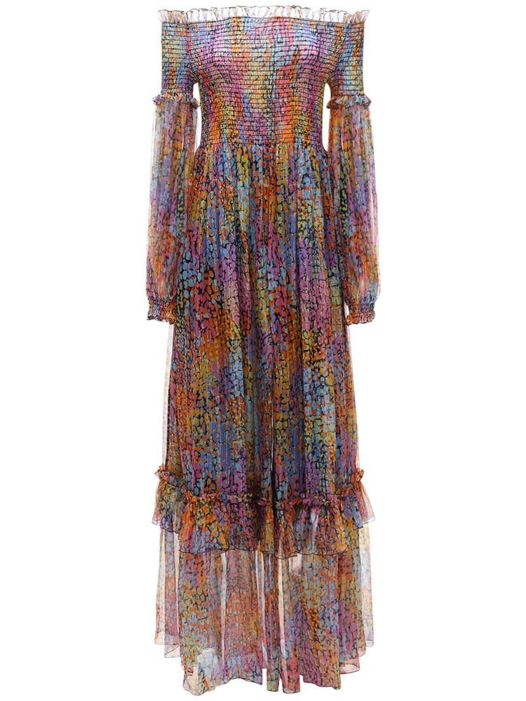 DUNDAS Off-the-shoulder Silk & Lurex Dress in purple / multi