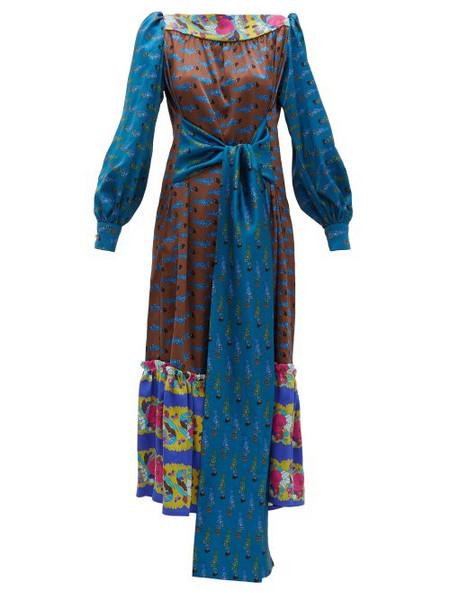 Rianna + Nina Rianna + Nina - Callas Fish Print Silk Satin Midi Dress - Womens - Blue Multi