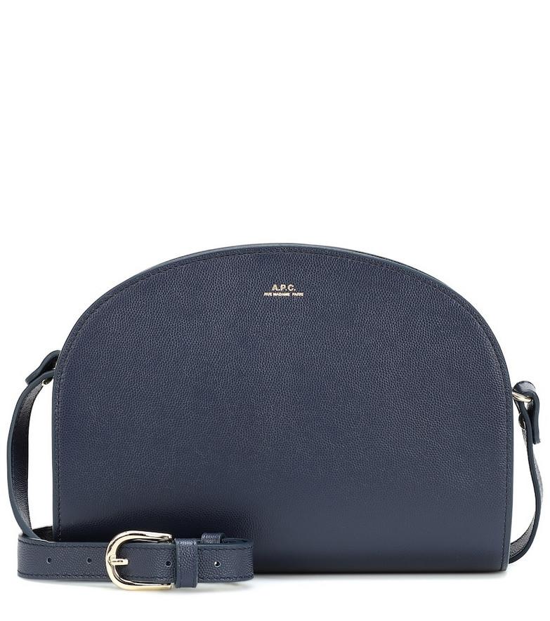 A.P.C. Demi-Lune leather shoulder bag in blue
