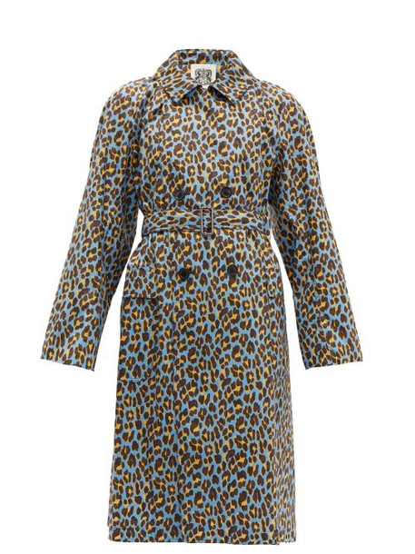 Connolly - Leopard Print Cotton Trench Coat - Womens - Blue Multi