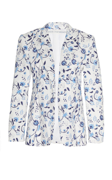 Alix of Bohemia Bonnie Printed Cotton Blazer Size: S in white